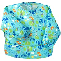 green sprouts Easy wear Long Sleeve Bib for 2 to 4 Years Kids,Aqua