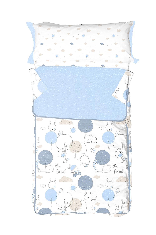 Burrito Blanco Saco Nórdico Infantil 005 100% Algodón con Cremallera y Relleno Diseño de Animales para Cama de 90 x 190 cm hasta 90 x 200 cm, Azul Celeste: ...