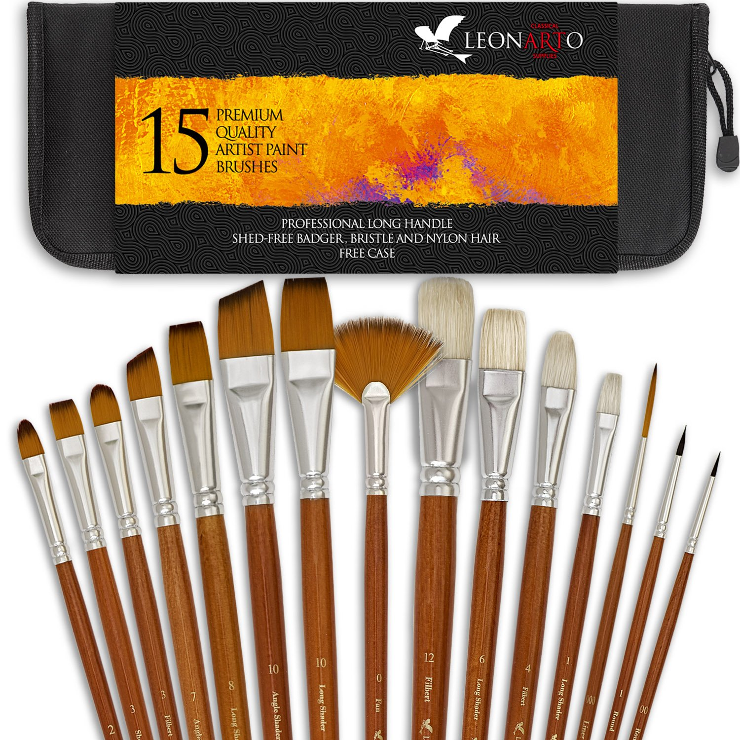 Paint brushes set - Acrylic Oil Watercolor Gouache painting Brushes - Badger hog bristle synthetic brushes - Artist Canvas Art Paint Brush Kit with a Free Pop Up Case - Long Handles - 15 Pieces