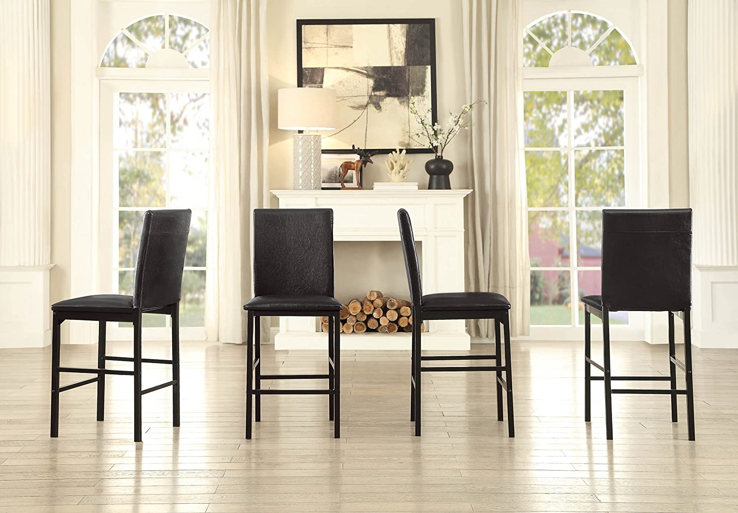 Homelegance 2601 Counter Height Dining Chair Set of 4 , Black
