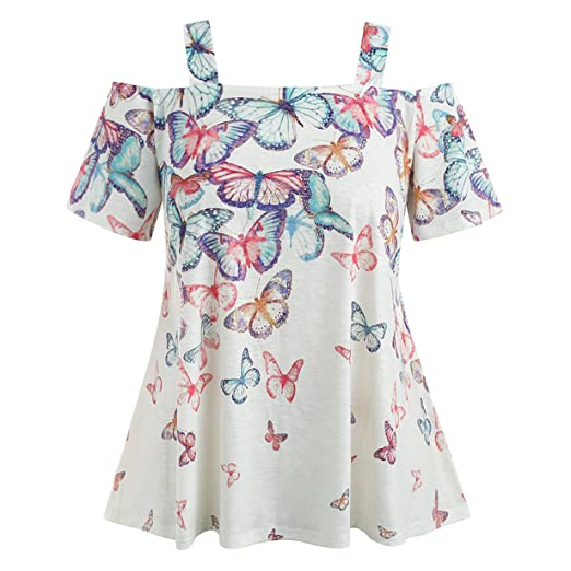 b094b096cb409 Londony❤ღ♕ Womens Scoop Neck Off Shoulder Butterfly Print T Shirts High  Waist Hem Blouse Plus Size Tops at Amazon Women s Clothing store