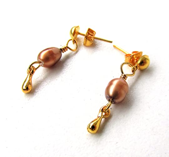 9f0c9c8bf Image Unavailable. Image not available for. Color: Copper color pearl stud  earrings