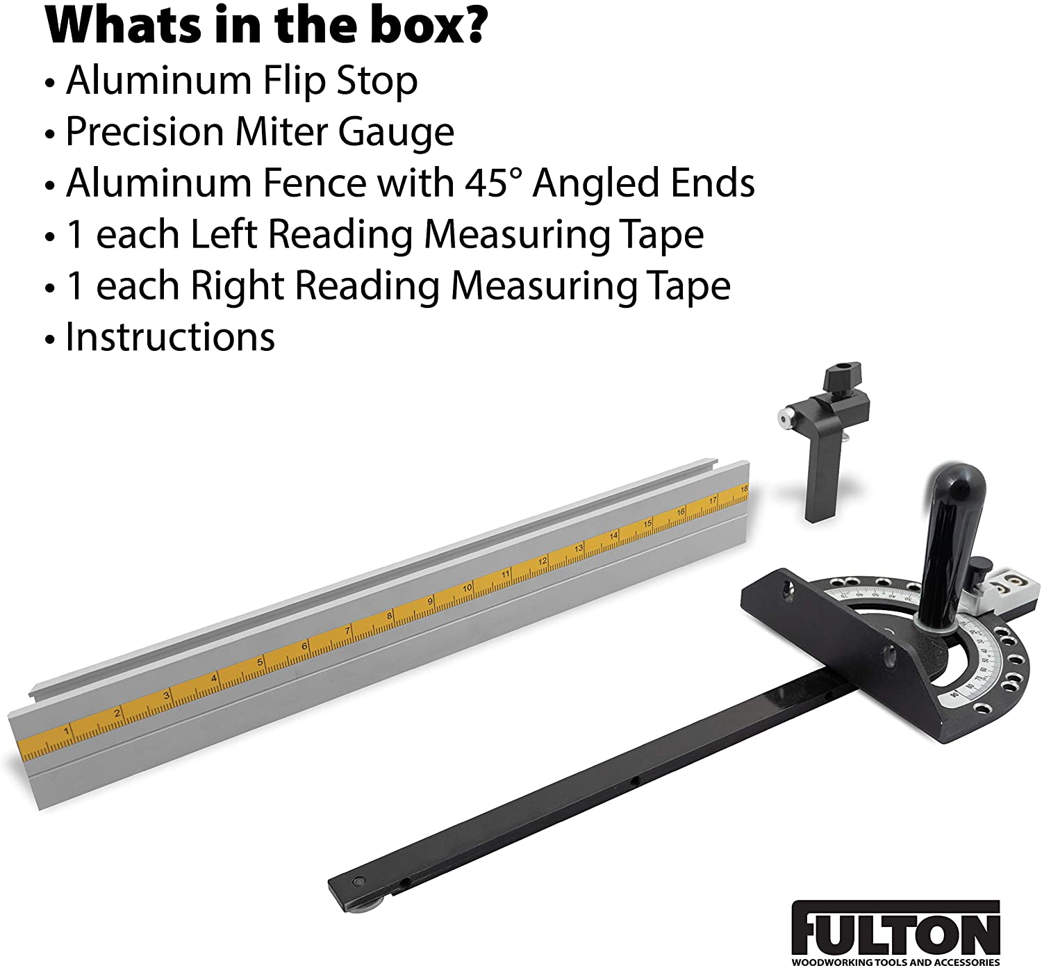 Fulton Precision Miter Gauge with Aluminum Miter Fence with 45 degree Angled Ends for Maximum Stock Support and a Repetitive Cut Flip Stop