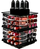 Spinning Acrylic Lipstick Holder Organizer | 88 Slot Makeup Tower Storage Box Solution | By N2 Makeup Co (Big Tower, Sapphire Black)