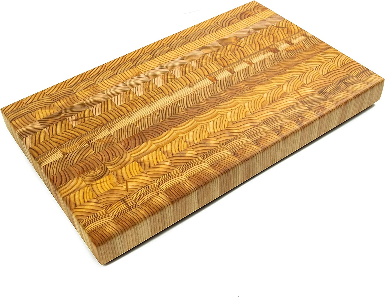 Larch Wood Canada End Grain Small Cutting Board, Handcrafted for Professional Chefs & Home Cooking, 17-3/4