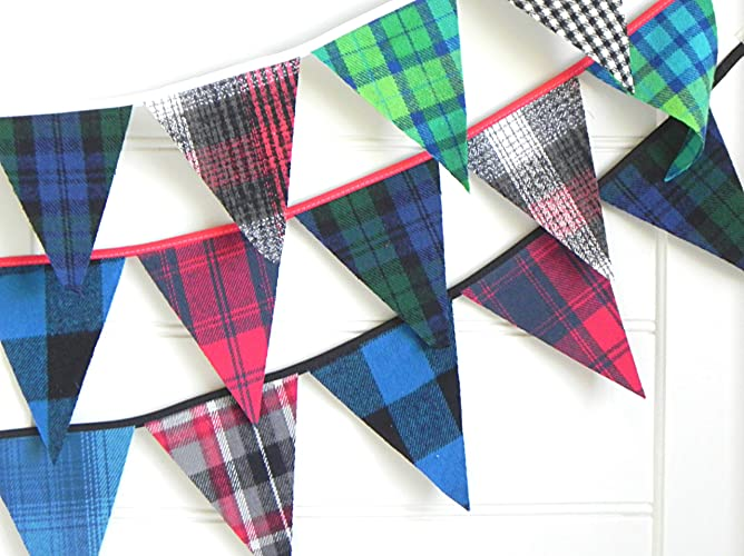 Plaid Bunting Banner By A Fete Beckons Lumberjack Baby Shower Boy Rustic Nursery Decor Farmhouse Garland For Fireplace Mantel 100 Handmade 9 Feet