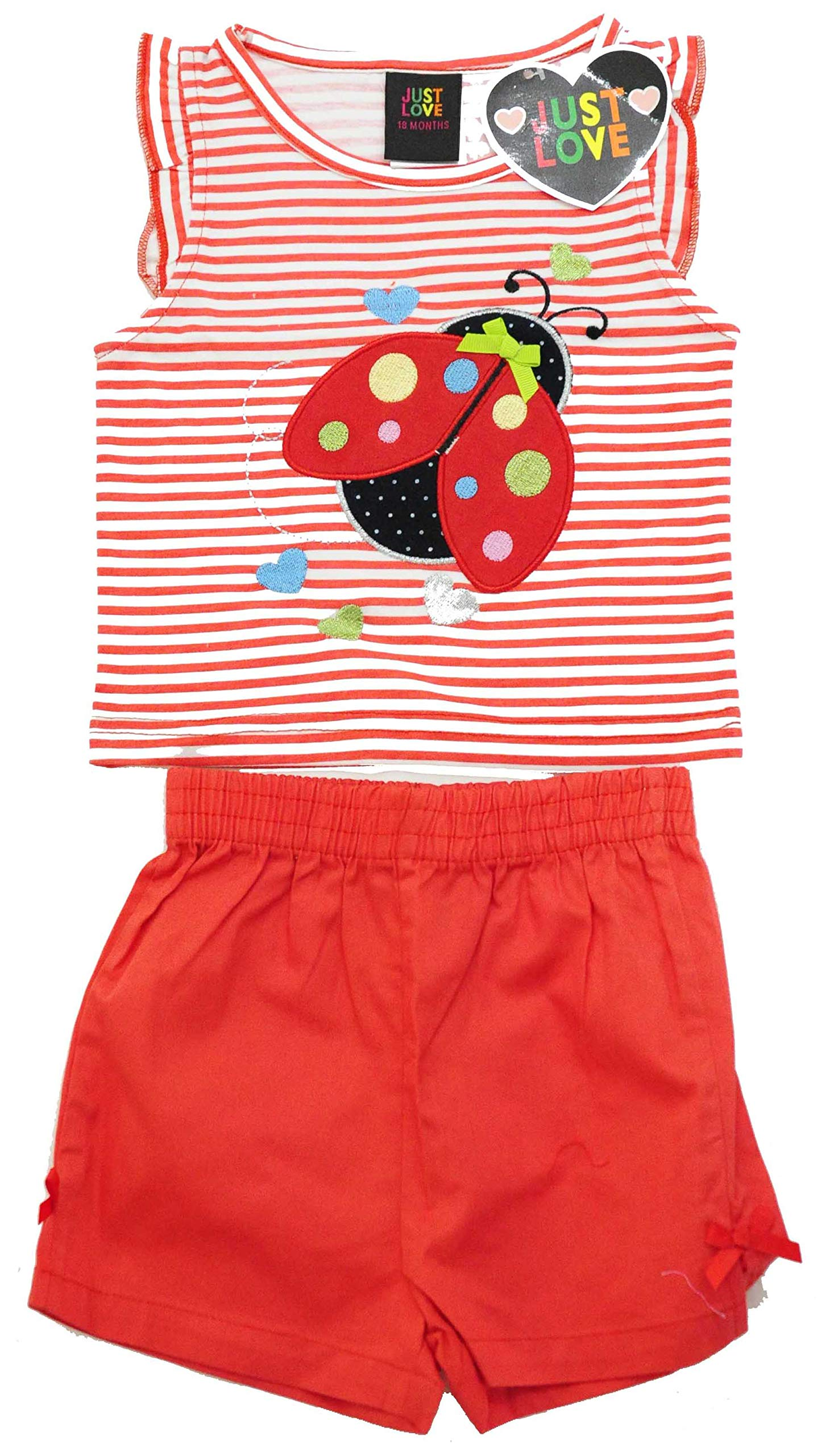 Just Love Two Piece Girls Shorts Set, 4001-Red Bug, 2T