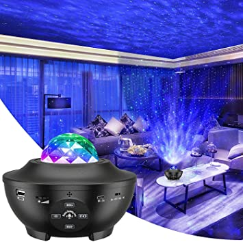 Vivibel Projektor Sternenhimmel LED Sternenlicht Lampe Wasserwellen Projektionslampe Ferngesteuerte Nachtlichter Farbwechsel Musikspieler mit Bluetooth Timer f/ür Kinder Erwachsene Zimmer Dekoration