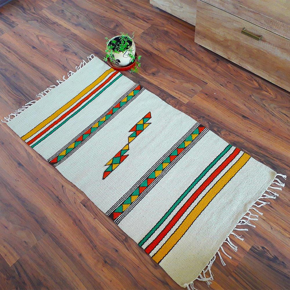 Amazon Com Handwoven Kilim Rug In White With Yellow Orange And Green Motifs Unique Handmade Wool Rug Handmade