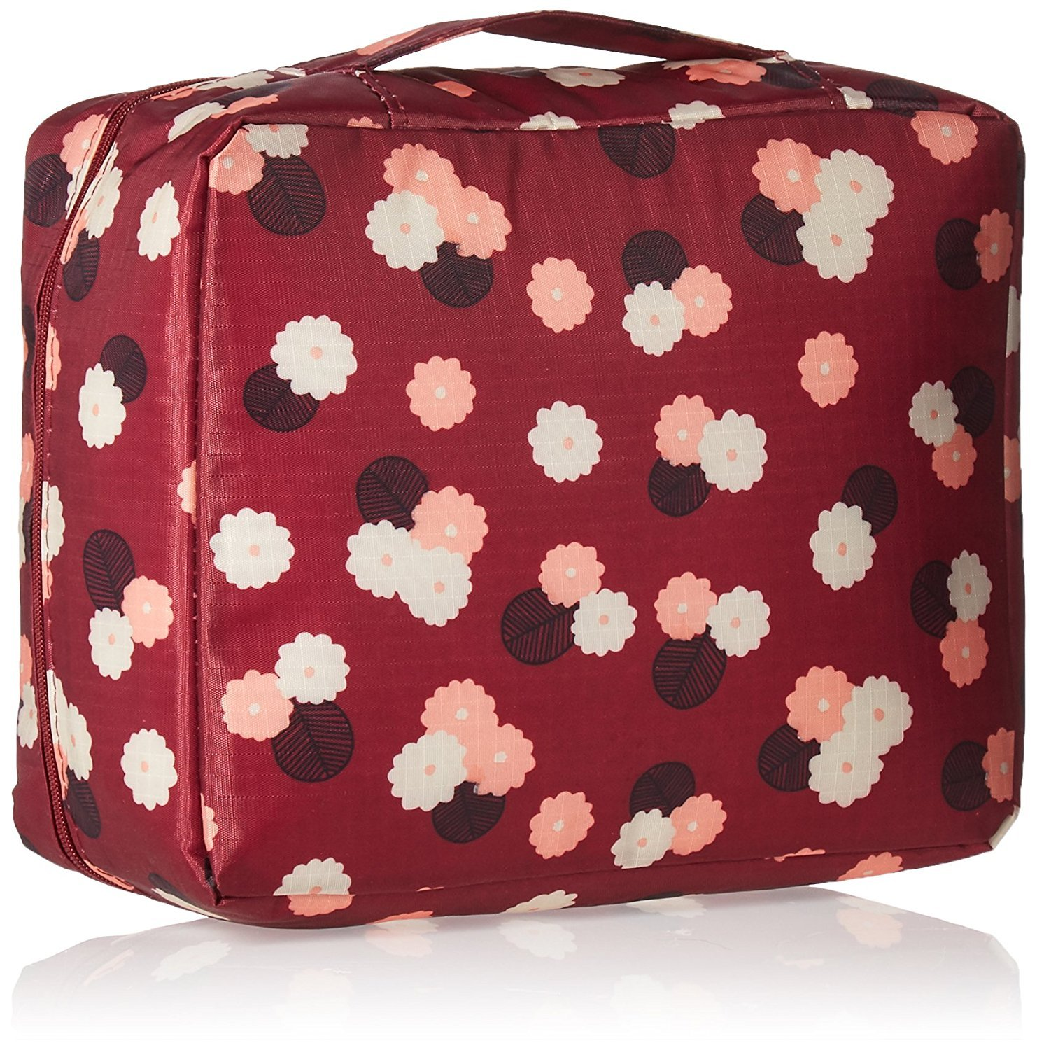 Toiletry Bag Cafurty Cosmetic Bag Travel Bag Makeup Carry Case Flowers in Wine Red