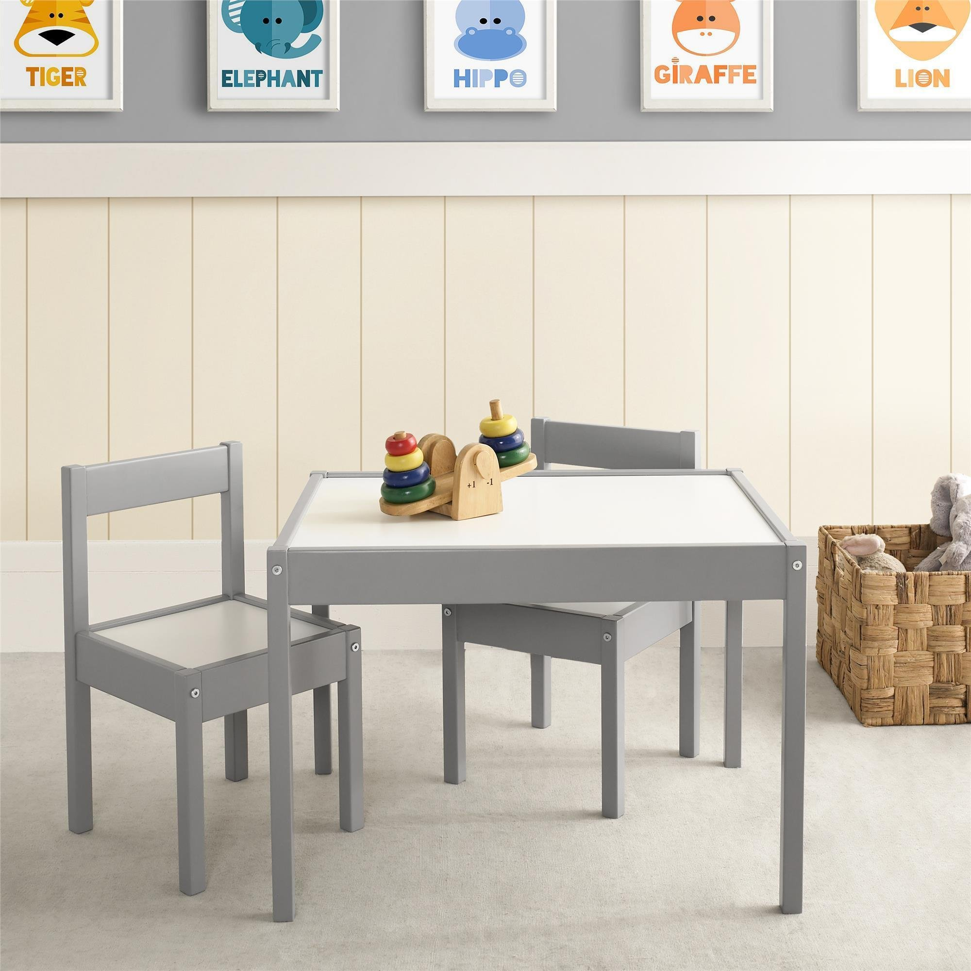 Give Your Kids A Fun Place To Work Avenue Greene Dreama Grey/White Wood 3-piece Kiddy Table and Chair Set Boasta Up To 75 Lbs Weight Capacity - Perfect For Kiddie Meals, Art And Coloring, Playing