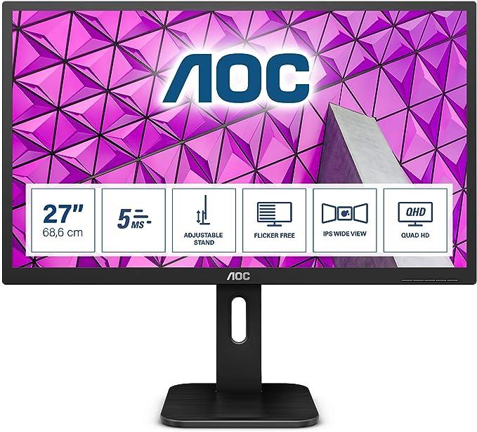 Aoc Q27p1 27 Zoll Qhd Monitor Höhenverstellbar 2560x1440 60 Hz Vga Dvi Hdmi Displayport Usb Hub
