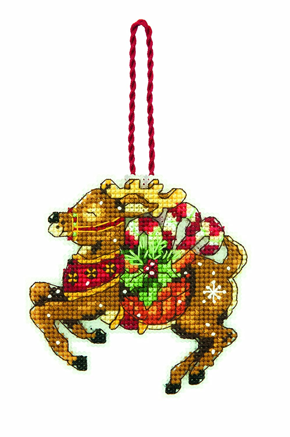3.5 W x 4.5 H Dimensions Counted Cross Stitch Reindeer Christmas Ornament Kit