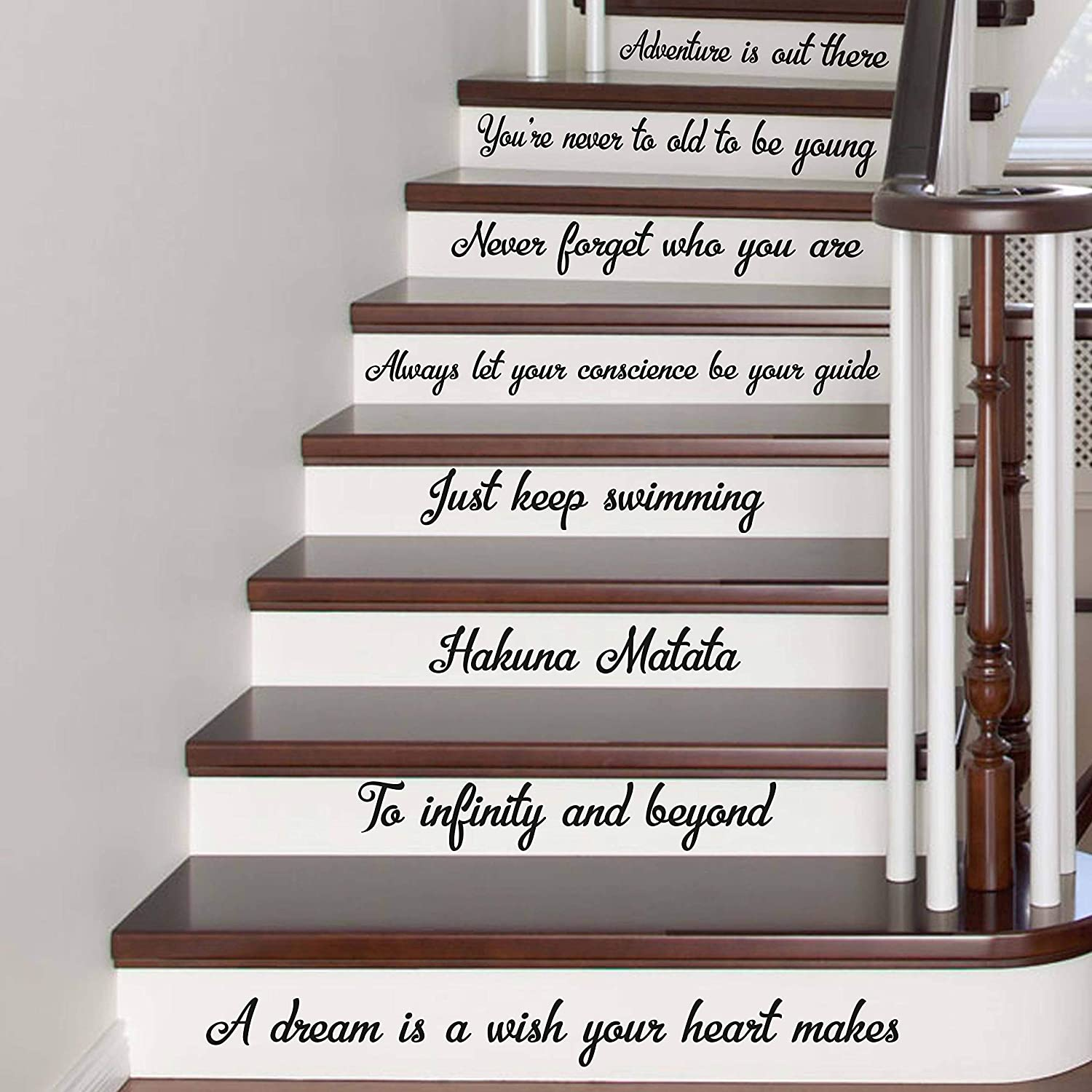 Amazon Com Wall Decals Stair Decals Disney Quotes Best Stairway Decals Quote 8 Steps Vinyl Stickers Lettering Family Home Decor Staircase Disney Decal Made In Usa Kitchen Dining