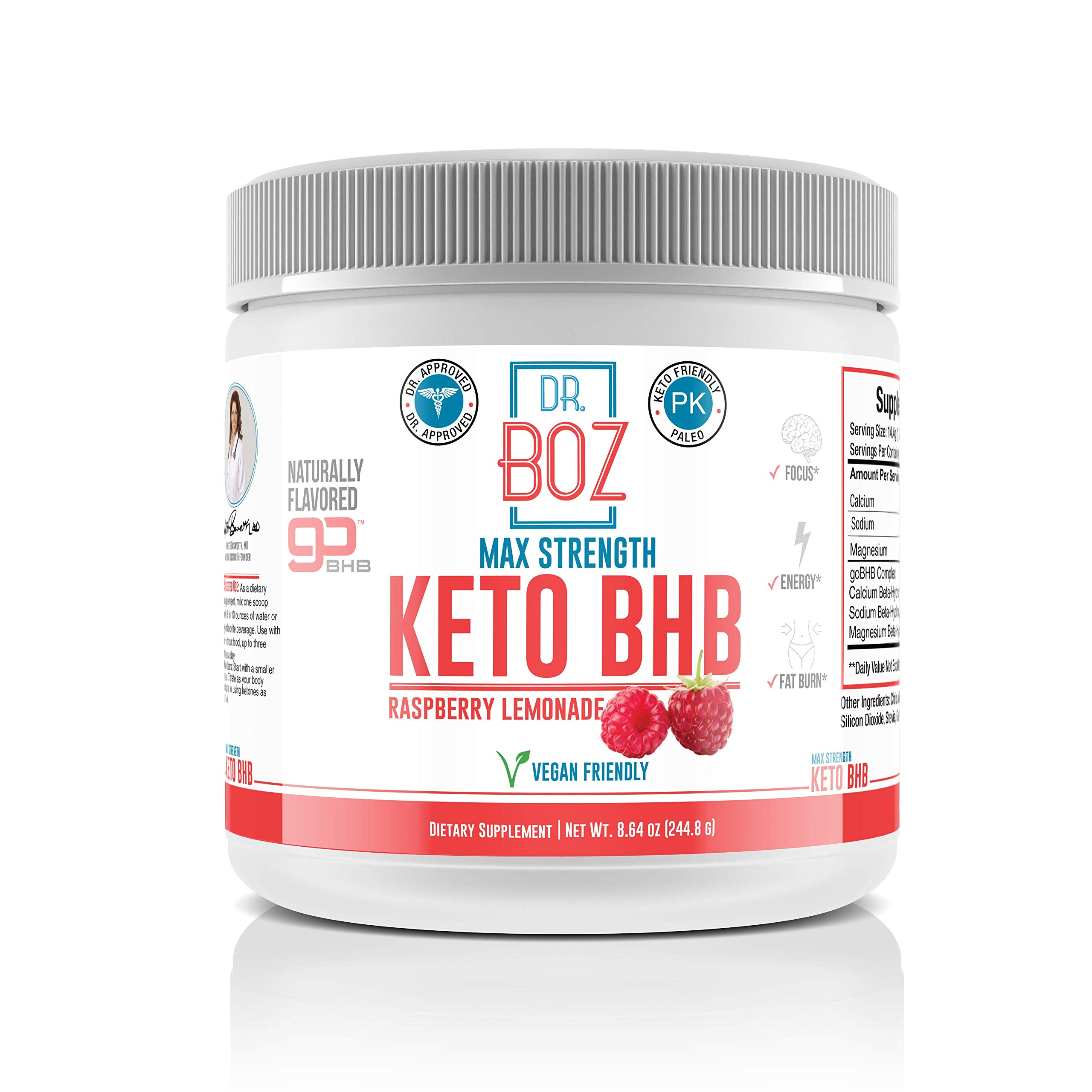Dr. Boz Keto BHB Powder [Exogenous Ketones Supplement] -Best Keto Supplement for Weight Loss - Keto Supplement   Keto Shake - Keto Diet BHB Powder - [Raspberry Lemonade 244g] by Dr. Boz