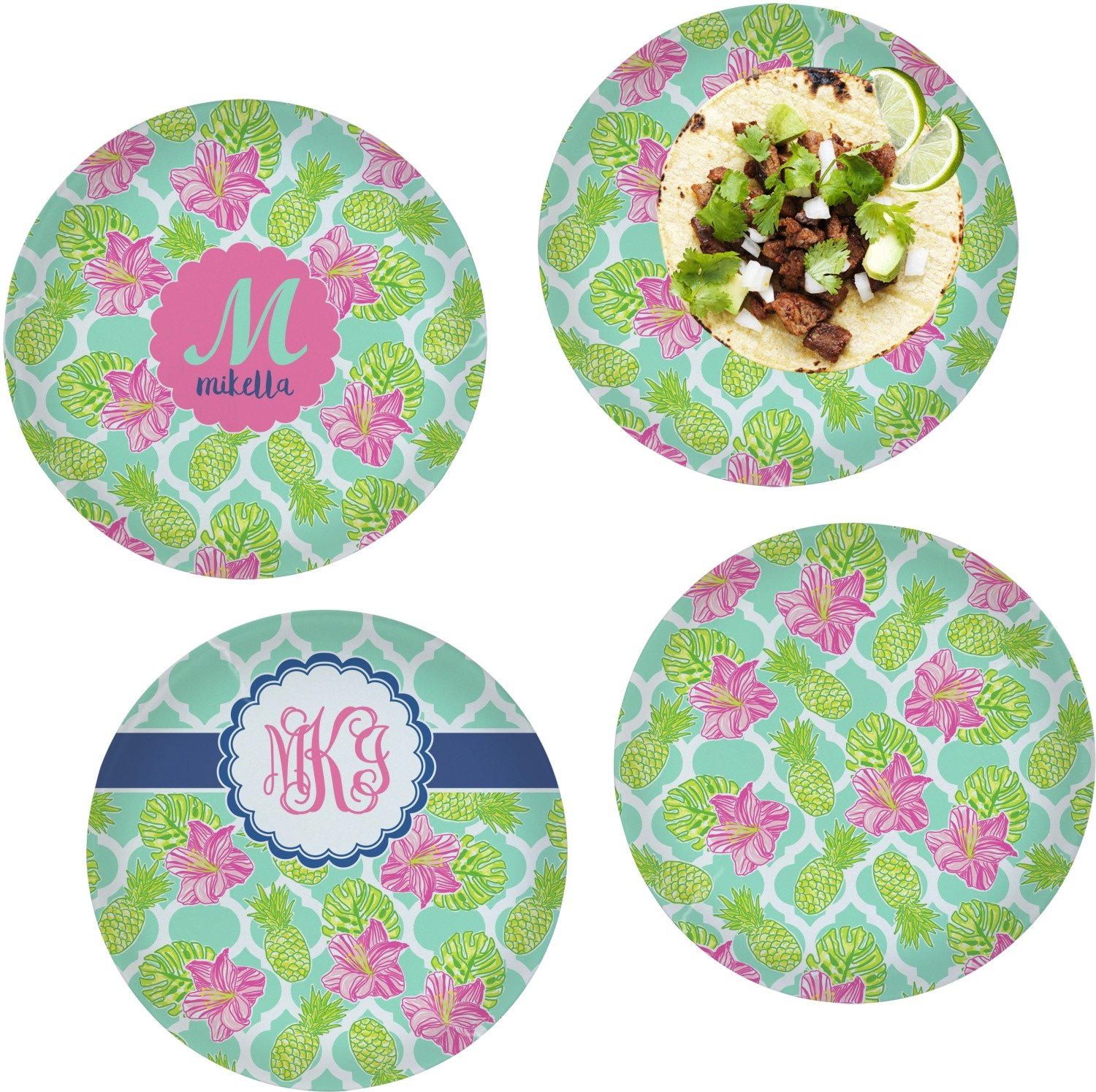 Preppy Hibiscus Set of 4 Lunch / Dinner Plates (Glass) (Personalized)