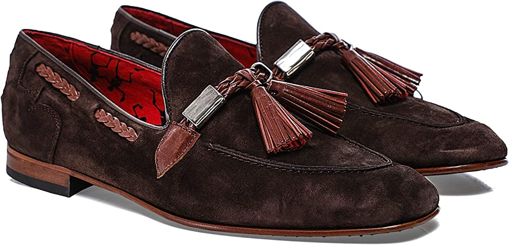 Suede Martini Tassel Loafers Brown