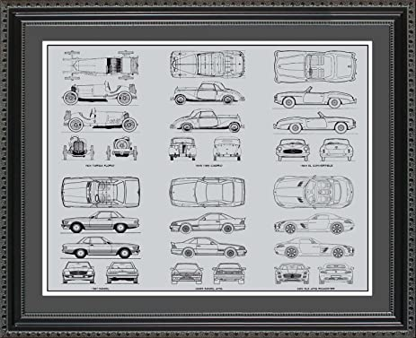 Amazon mercedes benz 1 blueprint collection framed car art mercedes benz 1 blueprint collection framed car art gift 20x24 malvernweather Choice Image