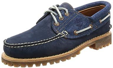 3-Eye Classic White Oak Denim Lug Shoes: A1FK2 Black Iris Nubuck / Faded White Oak Denim