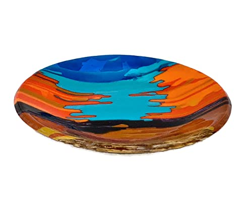 Art Glass Decorative Southwestern Collection Bowl In Turquoise And Orange Handmade