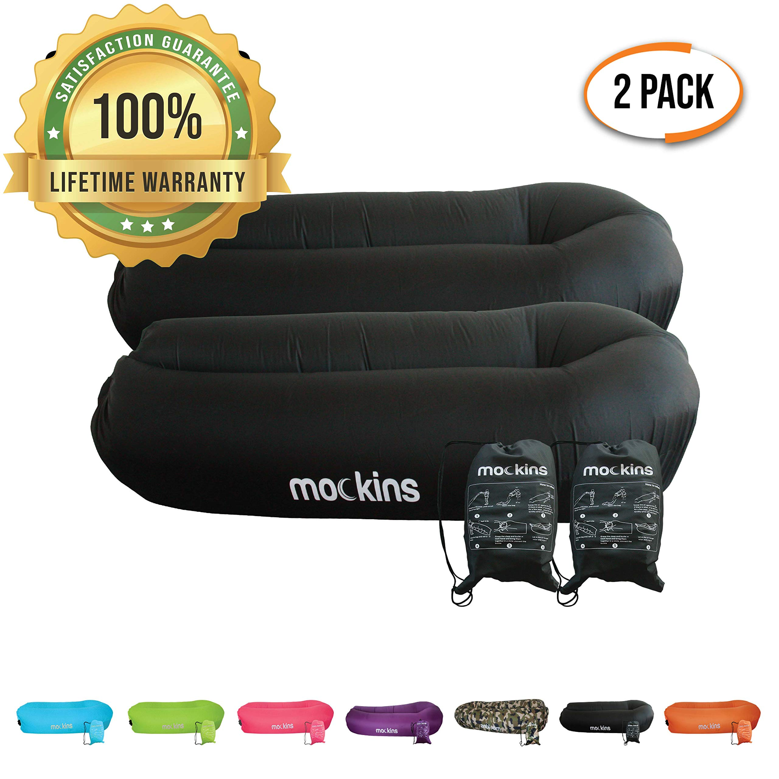 Mockins 2 Pack Black Inflatable Lounger Hangout Sofa Bed with Travel Bag Pouch The Portable Inflatable Couch Air Lounger is Perfect for Music Festivals Or Camping Accessories Inflatable Hammock by Mockins