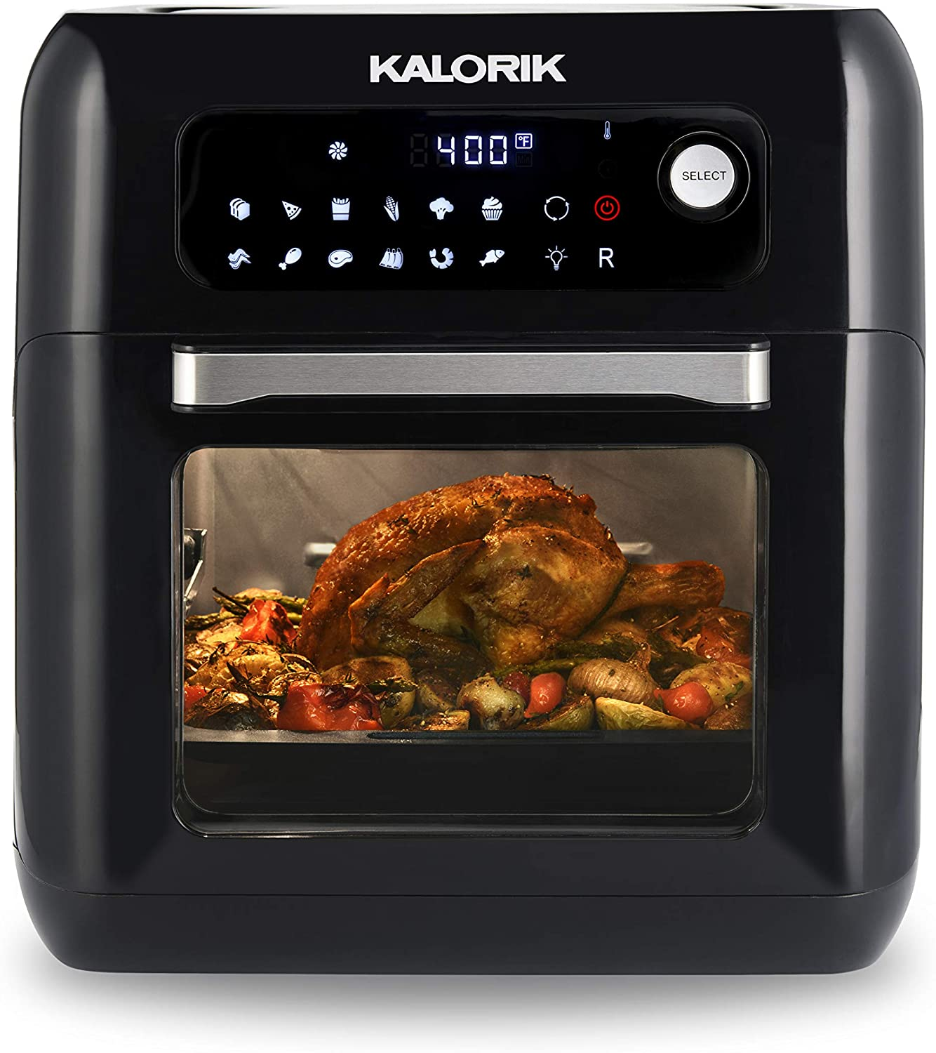 Kalorik AFO 44880 BK 6 QT XL Air Fryer Oven With 13 in 1 Cooking Options, 20 Recipes and 9 Accessories Including Rotisserie