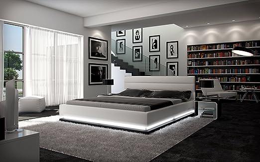 Bett Mit Led Beleuchtung 160X200 | Polster Bett 160x200 Cm Weiss Aus Kunstleder Mit Led Beleuchtung Am
