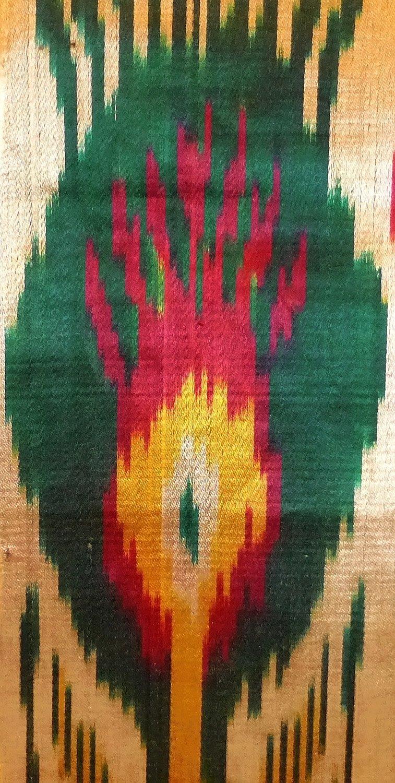 UZBEK HANDMADE HANDCRAFTED WOVEN SILK-COTTON IKAT ADRAS FABRIC BY YARDAGE A10662