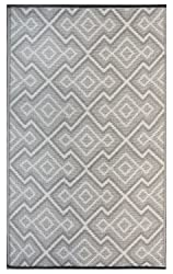 Recycled Easy Clean Outdoor Mat - The Original Earth Collective Plastic Rug - Reversible, UV resistant, Mildew Proof, Aztec Grey, Beige & White, For Patio, Beach, Picnic or RV Camping. Eco Friendly