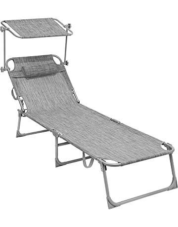 SONGMICS Tumbona reclinable Silla para Playa Piscina jardín Plegable 193 x 62 x 30 cm Carga