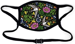 Buttonsmith Secret Garden Birds Youth Adjustable Face Mask with Built-in Lanyard - Made in The USA - Quantity 1 - Ages 6-12 - Two Layer Soft Material - Washable -