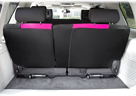 FH Group FB039013PINK Pink-Bench FB039PINK013 Multifunctional Cloth Split Seat (Full Coverage Car Backrest is Covered on All Sides)
