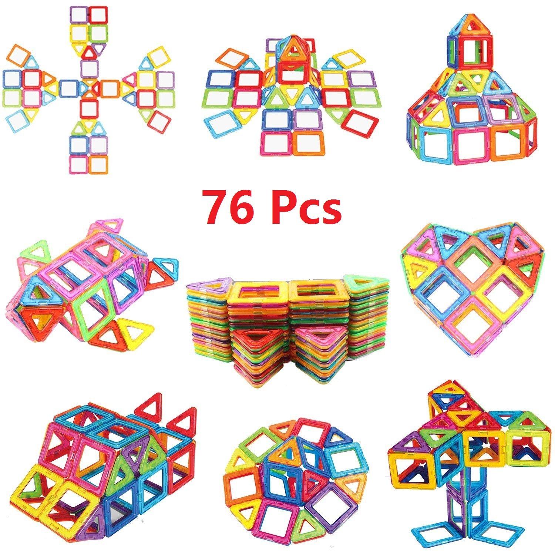 Magnetic Blocks, Magnetic Building Blocks Set 76 PCS, Magnetic Tiles, Educational Toys for Baby/ Kids (76Pcs Magnetic Blocks)