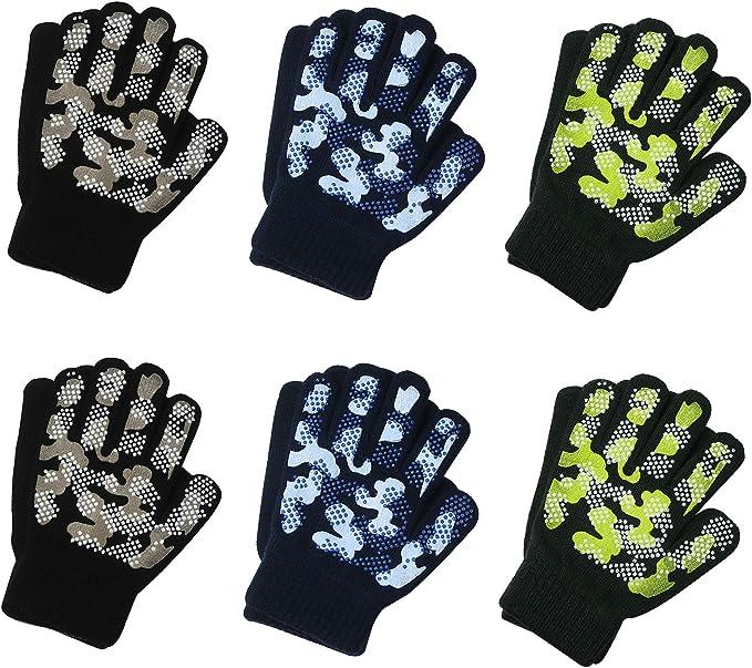 EvridWear EvridWear Boys Magic Stretch Gripper Gloves 3 Pair Pack Assortment Kids One Size Winter Warm Gloves Children