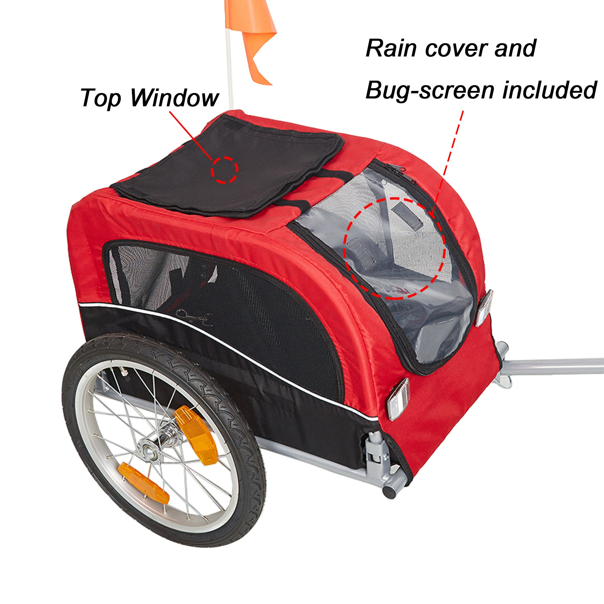 Lucky Tree Pet Dog Bike Trailer Bicycle Trailer Carrier Cycling Jogging w/Suspension by Lucky Tree (Image #3)