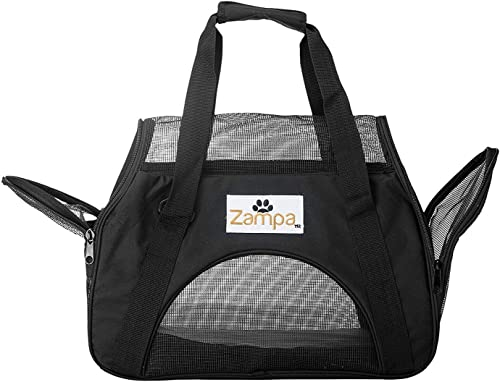 Zampa Airline Approved Soft Sided Pet Carrier, Low Profile Travel Tote, Removable pad, Premium Zippers Under Seat Compatibility, for Cats and Small Dogs