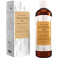 Relaxing Massage Oil - Aromatherapy Essential Oils - Cold Pressed With Antioxidant Rich Lavender Pure Jojoba & Sweet Almond Oil - Great For Sensitive Skin For Women & Men by Maple Holistics