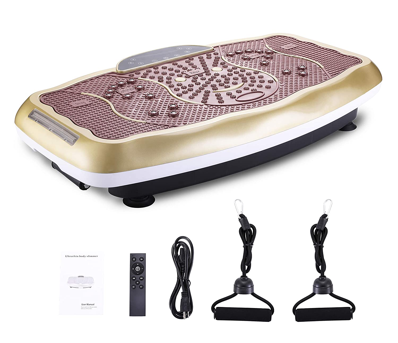 FITODO Vibrationsplatte Power Plate Vibrationstrainer Für Ganzkörper Training——Fernbedienung/Bluetooth Musik/Widerstandsbänder/Geschwindigkeits Einstellbar (Maximal belastung 150kg, Gold-S) GOTODO TD006C-7GS