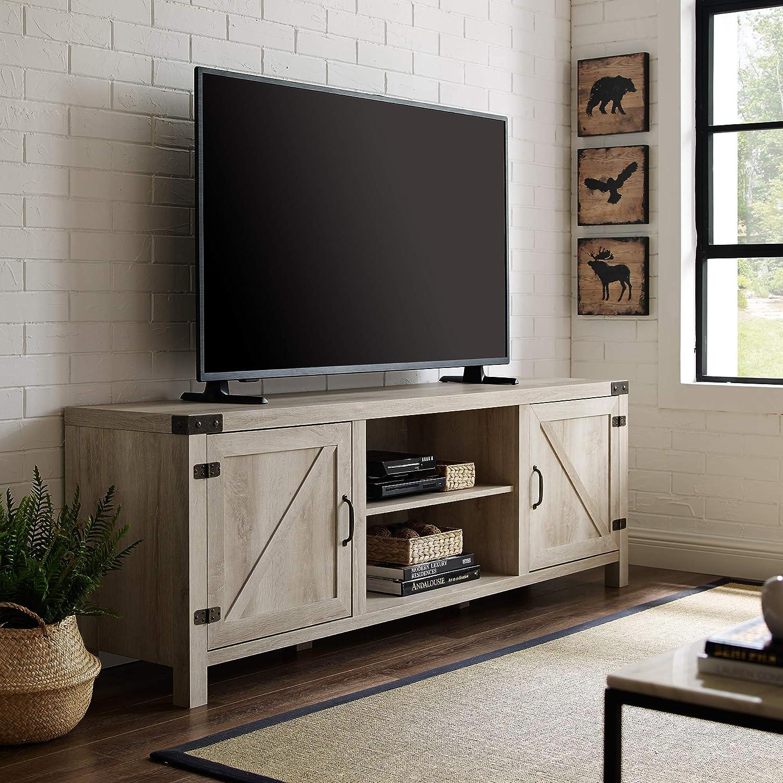 "WE Furniture AZ70BDSDWO TV Stand, 70"", White Oak"