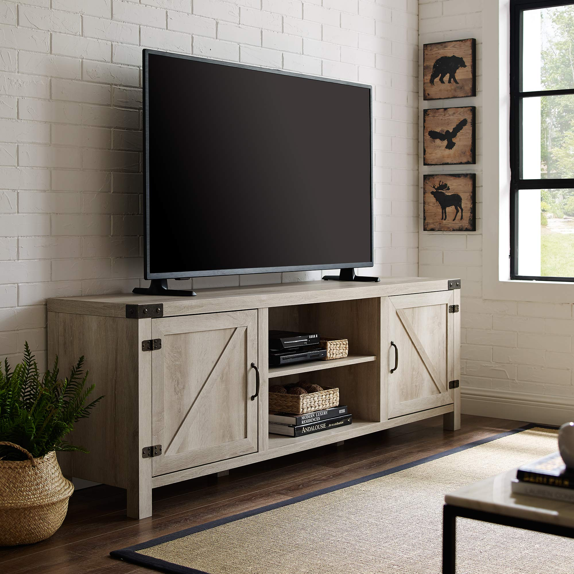 Walker Edison Georgetown Modern Farmhouse Double Barn Door TV Stand for TVs up to 80 Inches, 70 Inch, White Oak