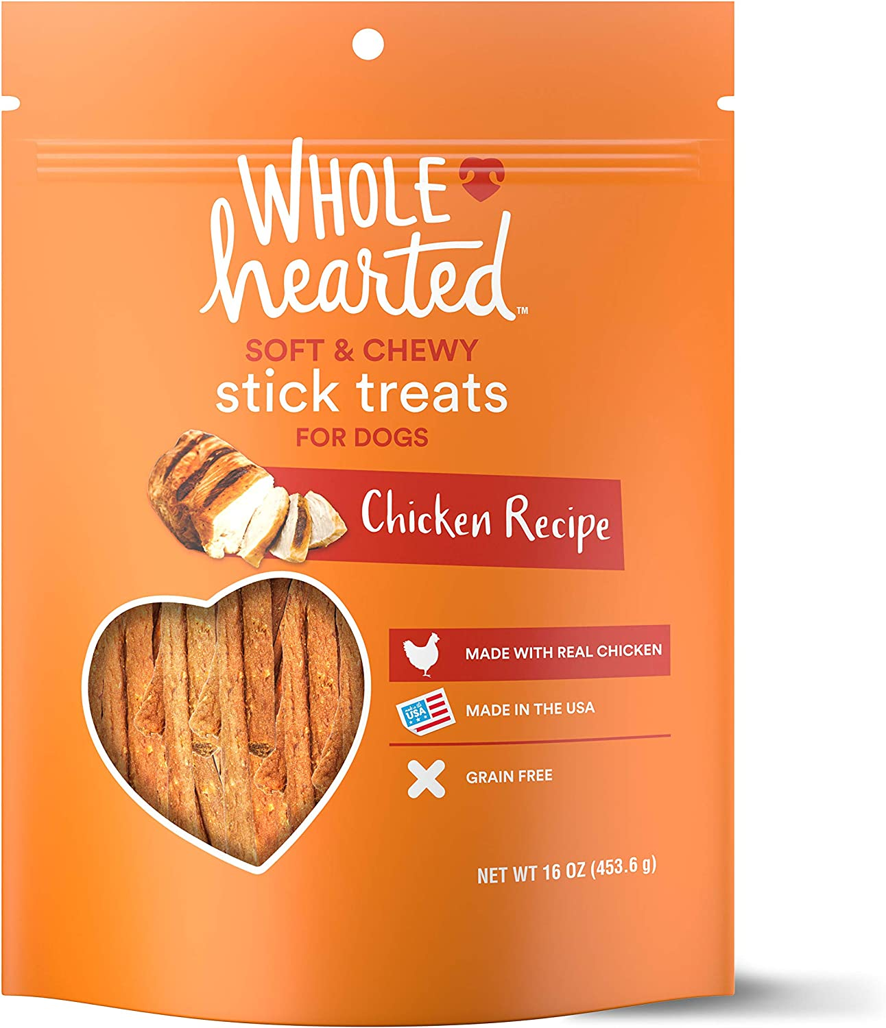 Petco Brand - WholeHearted Grain Free Soft and Chewy Chicken Recipe Dog Stick Treats, 16 oz