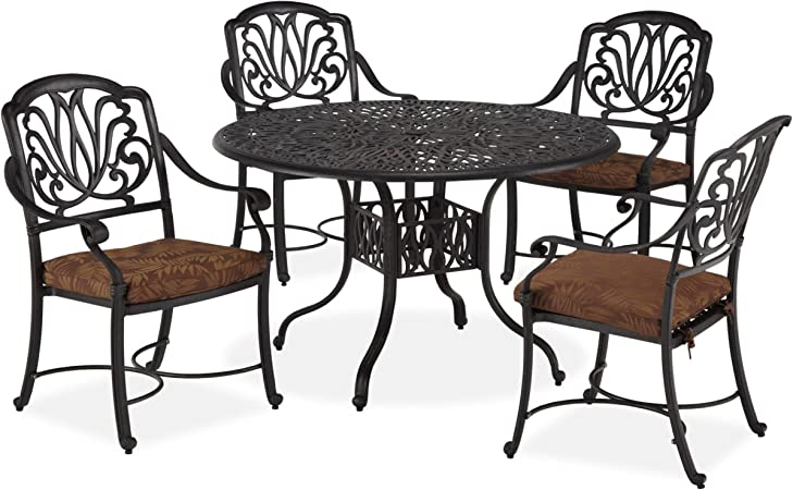 Home Styles Floral Blossom 5 Piece Patio Dining Set Charcoal
