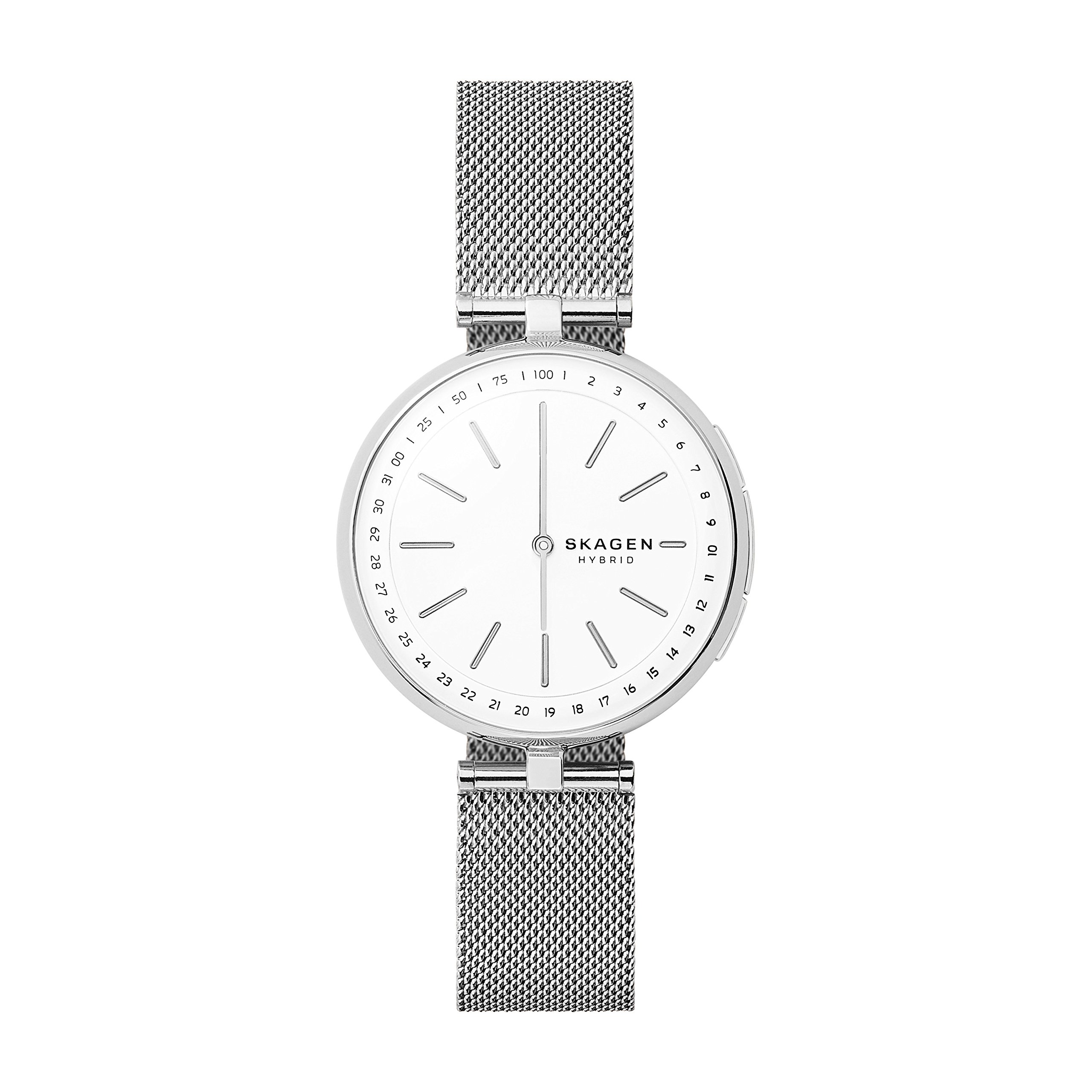 Skagen Connected Women's Signatur T-Bar Stainless Steel Mesh Hybrid Smartwatch, Color: Silver (Model: SKT1400) by Skagen
