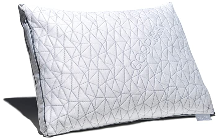 Coop Home Goods - Eden Shredded Memory Foam Pillow with Cooling Zippered Cover and Adjustable Hypoallergenic Gel Infused Memory Foam Fill - Standard