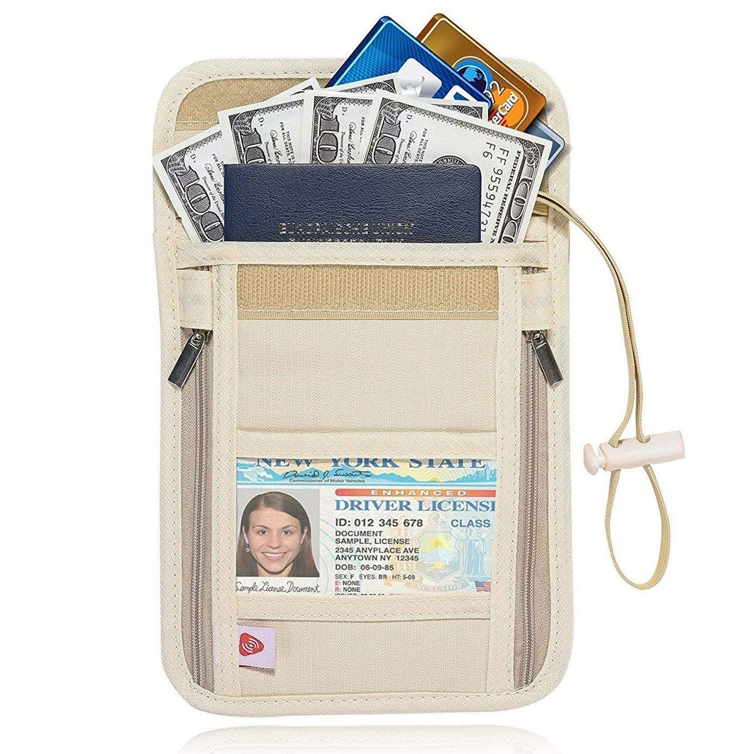 AIKELIDA RFID Blocking Passport Holder Neck Stash Pouch Security Travel Wallet aiketravelwallet1