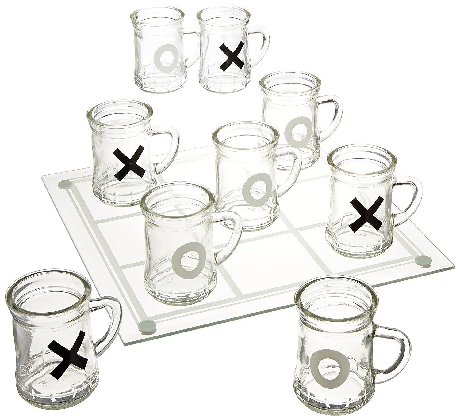 Game Night Tic Tac Toe Drinking Shot Glass Set with Mini Beer Mugs Jay Imports 326286-GB