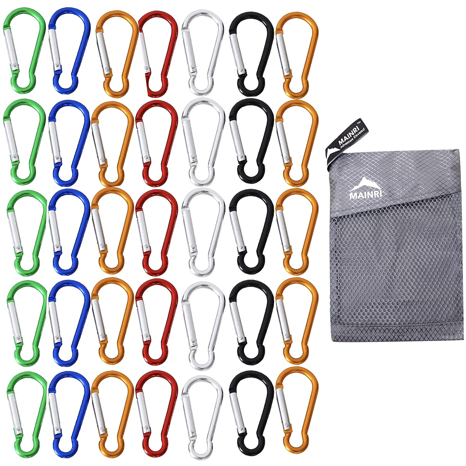 MAINRI 35 PACK Carabiner Clip Keychain Mini Carabiner Strong Small Carabiner Spring Aluminum Carabiner Outdoor Caribeaners Camping Hiking Hook Traveling Backpack Accessories Random Colors Mixed