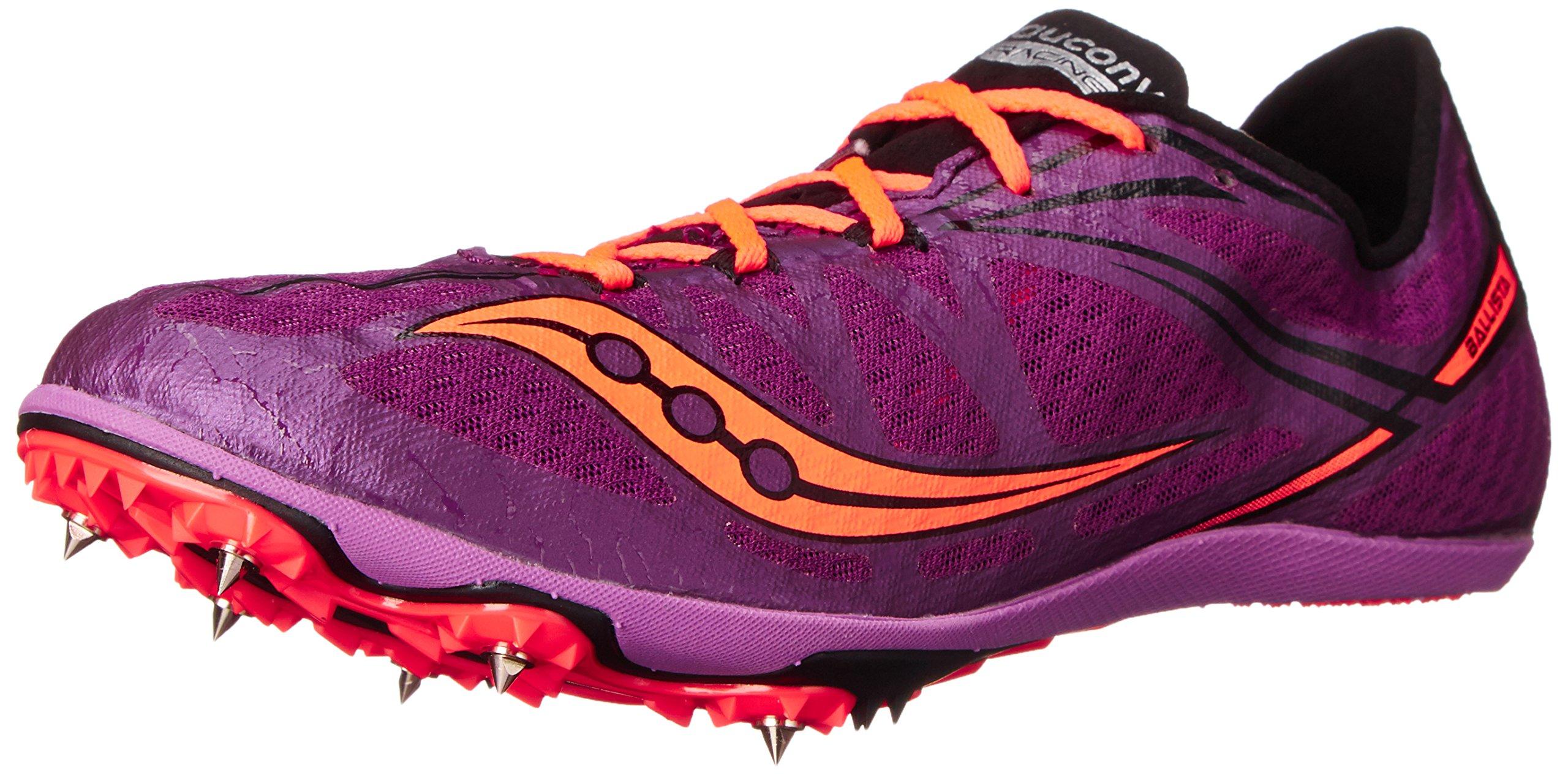 Saucony Women's Ballista Spike Shoe, Purple/Vizi Coral, 7.5 M US