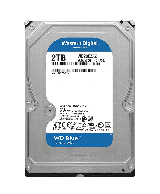 3.5 WD20EZAZ SATA 6 Gb//s WD Blue 2TB PC Hard Drive 256 MB Cache 5400 RPM Class
