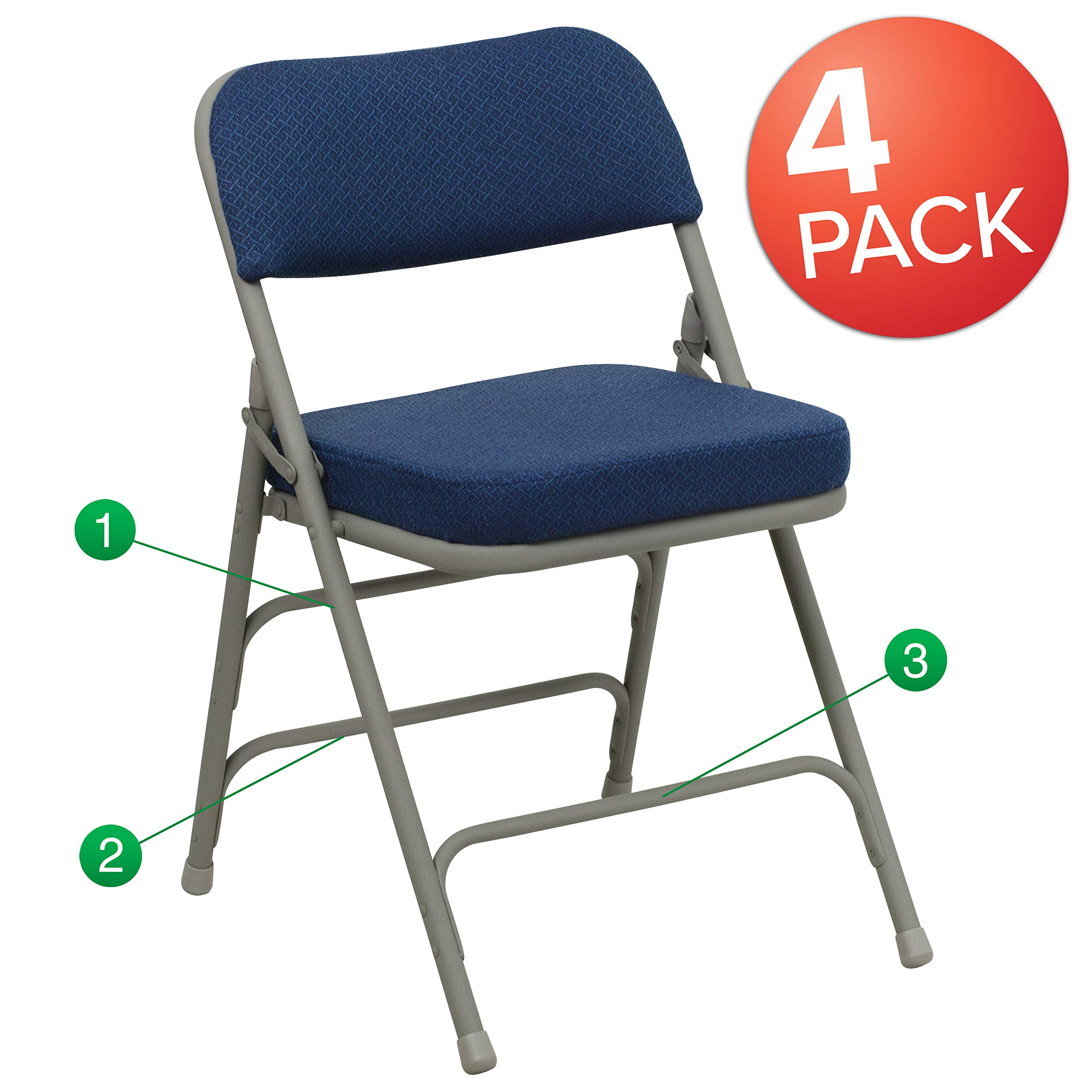Flash Furniture 4 Pk. HERCULES Series Premium Curved Triple Braced & Double Hinged Navy Fabric Metal Folding Chair